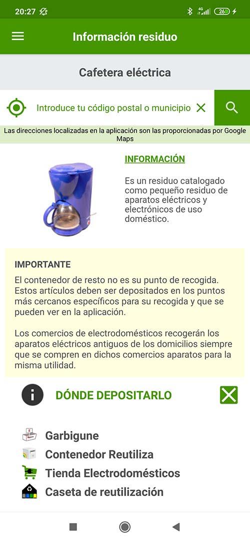 Información del residuo