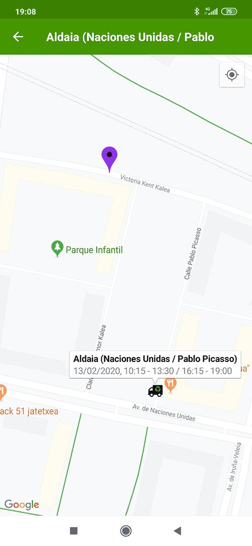 Localización del Punto Limpio Móvil