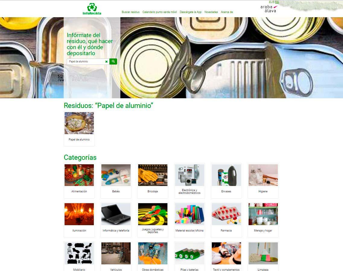 Inforecikla categorías de residuo