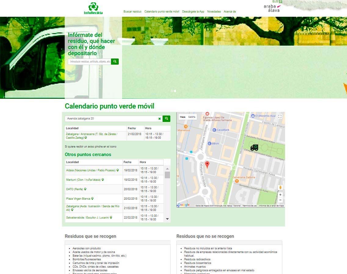 Inforecikla calendario punto verde móvil